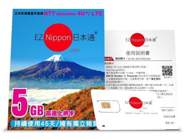 【【日本上網SIM卡】EZ Nippon日本通3GB\/5GB 多天數上網卡(台灣寄送)