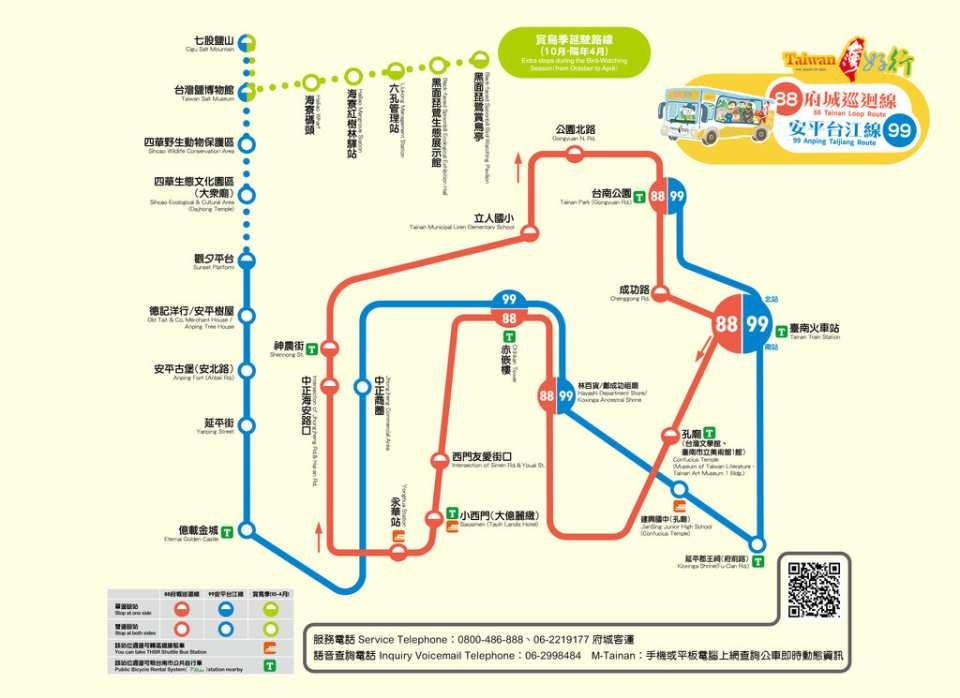 【台南交通票券】88安平線、99台江線一日無限搭乘券